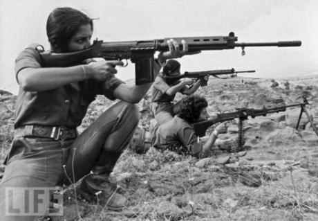 Lebanese Christian women training during the civil war, 1976.