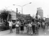 """הגוש של """"מצפן"""" בהפגנת 1 במאי 1979 בתל אביב - 1"""